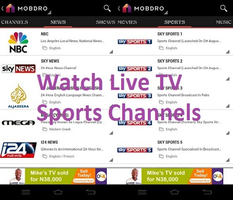 Mobdro sports channels app download