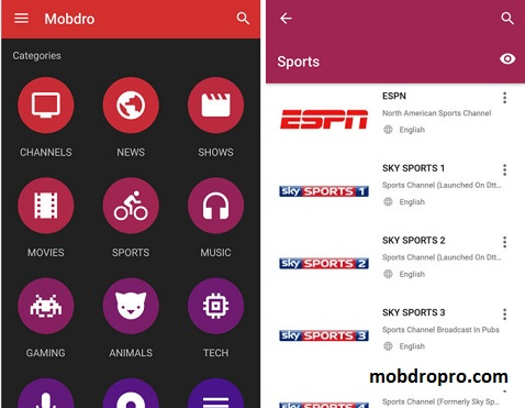 Mobdro App for Android phone tablet download apk